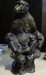 Antique Bronze Sculpture of Mother Chimp and Baby