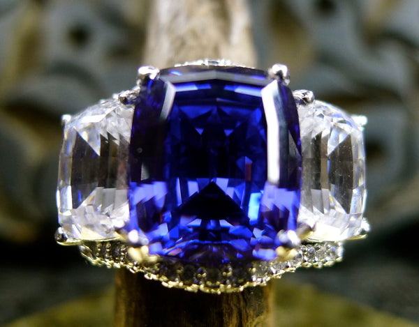 Jarin Kasi Cubic Zirconium and Simulated Tanzanite Rhodium Ring