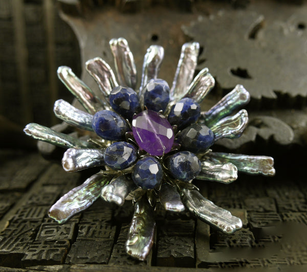 Siman Tu Peacock Biwa Pearl Brooch/Pin with Amethyst and Sodalite Center