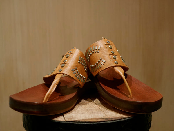 Calleen Cordero Maite Cognac Studded Leather Sandals