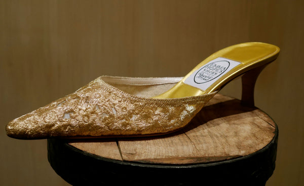 Emma Hope of London Embroidered Net Lace Slip-On Evening Shoes in Gold