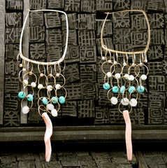 Melissa Joy Manning Gold, Turquoise and Coral Earrings