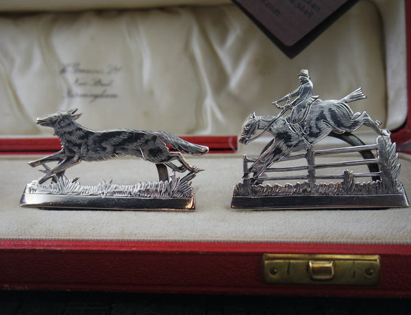 "Hand Engraved Sterling Silver Place ""Fox Hunt"" Card Holders circa 1913 with Chats"