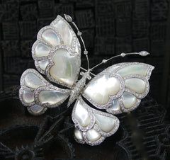 Estate Mother of Pearl, 18K White Gold and Diamond Butterfly Brooch