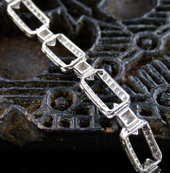 Estate 18K White Gold and Diamond Line Bracelet