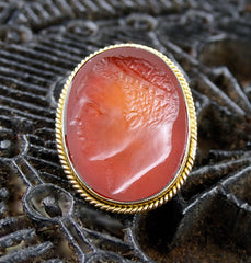 Antique Carved Intaglio of a Man in 18K Yellow Gold and Carnelian Ring