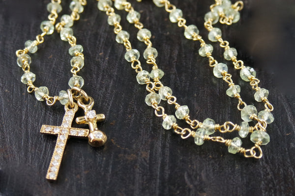 Erica Courtney Chrysophase Two Diamond Cross Necklace