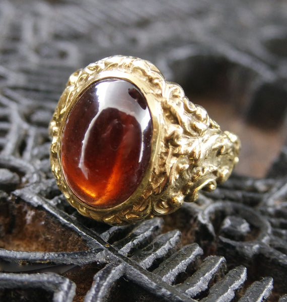Estate 14K Yellow Gold and Hessonite Garnet Ring