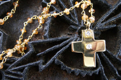 Erica Courtney 18K Yellow Gold, Diamond and Mandarin Garnet Cross Necklace