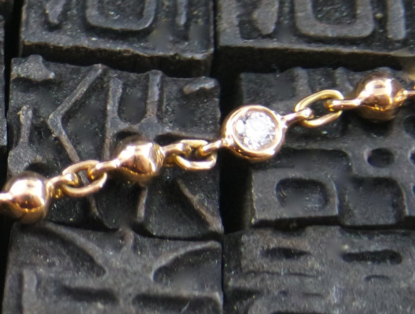 Erica Courtney 18K Gold and Diamond Bracelet with Heart Charm
