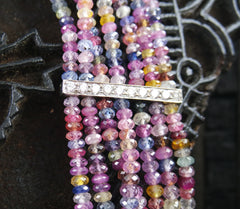 Very Fine Natural Multi Colored Sapphire Necklace with Diamond Bar Stations