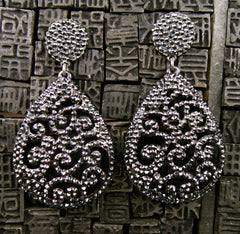 Roni Blanshay Custom Black Open Lace Drop Earring