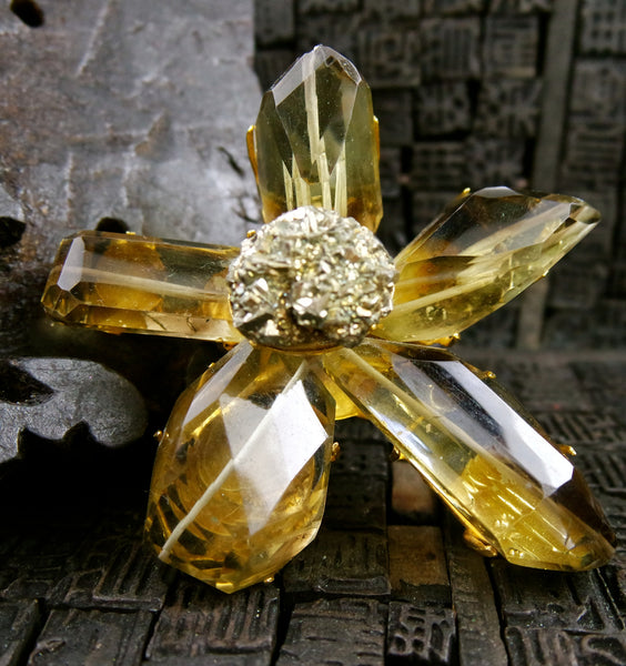 Siman Tu Lemon Citrine and Pyrite Flower Brooch