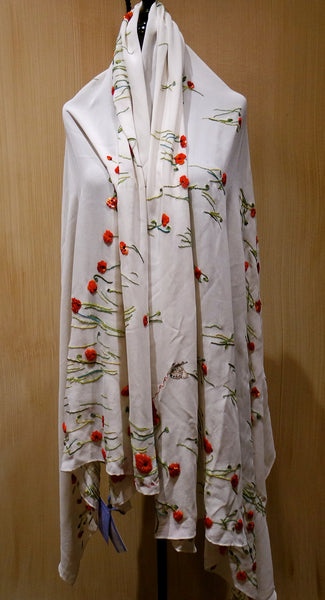 Flying Fig Embroidered Silk Chiffon Scarf with Poppies