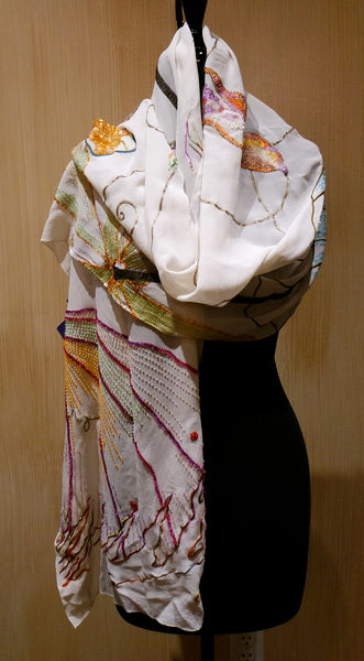Flying Fig Hand Embroidered and Beaded Silk Scarf - Turning Ferns