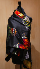 Moo Roo Silk Charmeuse and Velvet Wrap with Butterflies