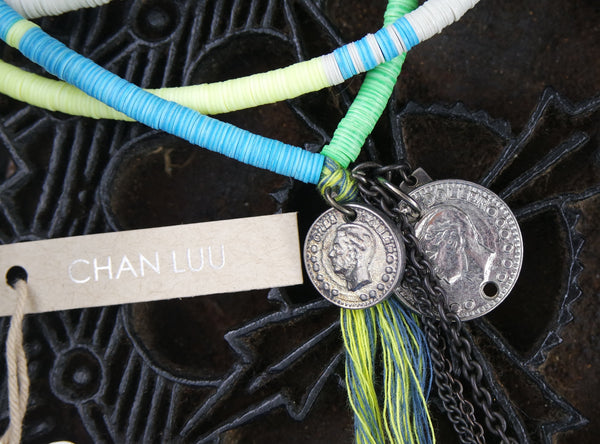 Chan Luu Plastic Disc Necklace or Bracelet with Coins