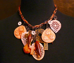 Chan Luu Carved Resin and Horn Charm Necklace
