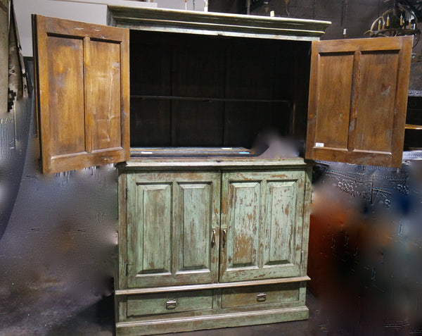 Vintage Painted Green Pine Armoire, Circa 1900