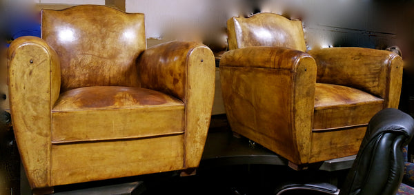 Pair of Antique French Deco Club Chairs Circa 1900's France