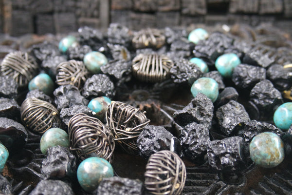 Chan Luu Sterling, Lava Beads, and Turquoise Necklace