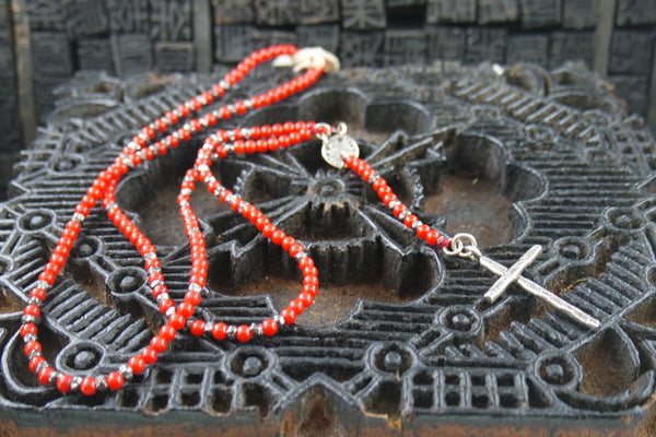 Chan Luu Red Coral and Silver Rosary Necklace