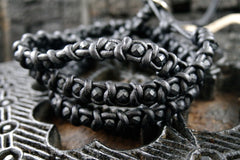Chan Luu Woven Leather Bracelet with Black Beads