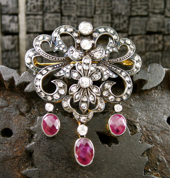 Antique Georgian Brooch/Pin with Diamonds and Rubies