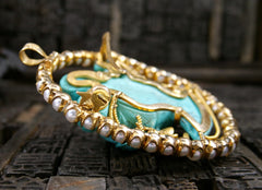 Estate Finely Carved Turquoise, and Pearl Brooch and Pendant