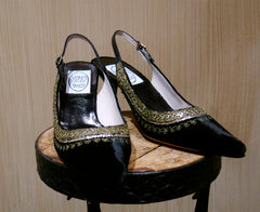 Emma Hope Black Velvet Slingback with Tunic Edge Gold Embroidery
