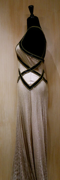 Jenny Packham Pearl Sequined Silk Gown with Black Sequin Criss-Cross Straps and Brass Beading