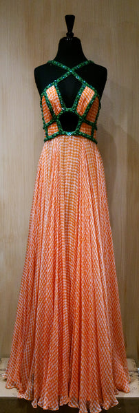 Jenny Packham Peach/White Gingham Check Silk and Green Sequined Gown