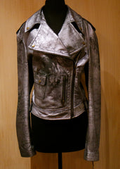 Jenny Packham Silver Leather Motorcycle Jacket