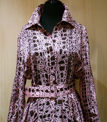 Jenny Packham Pink and Coco Brown Croc Printed Silk Belted Floor Length Shirt Dress