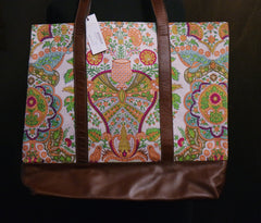James Coviello Print and Leather Tote Bag