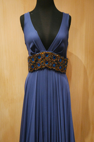 Jenny Packham Jeweled Navy Gown with Jeweled Waistband