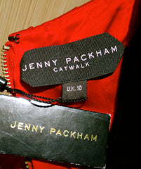 Jenny Packham Catwalk Edition Red Satin Strapless Dress