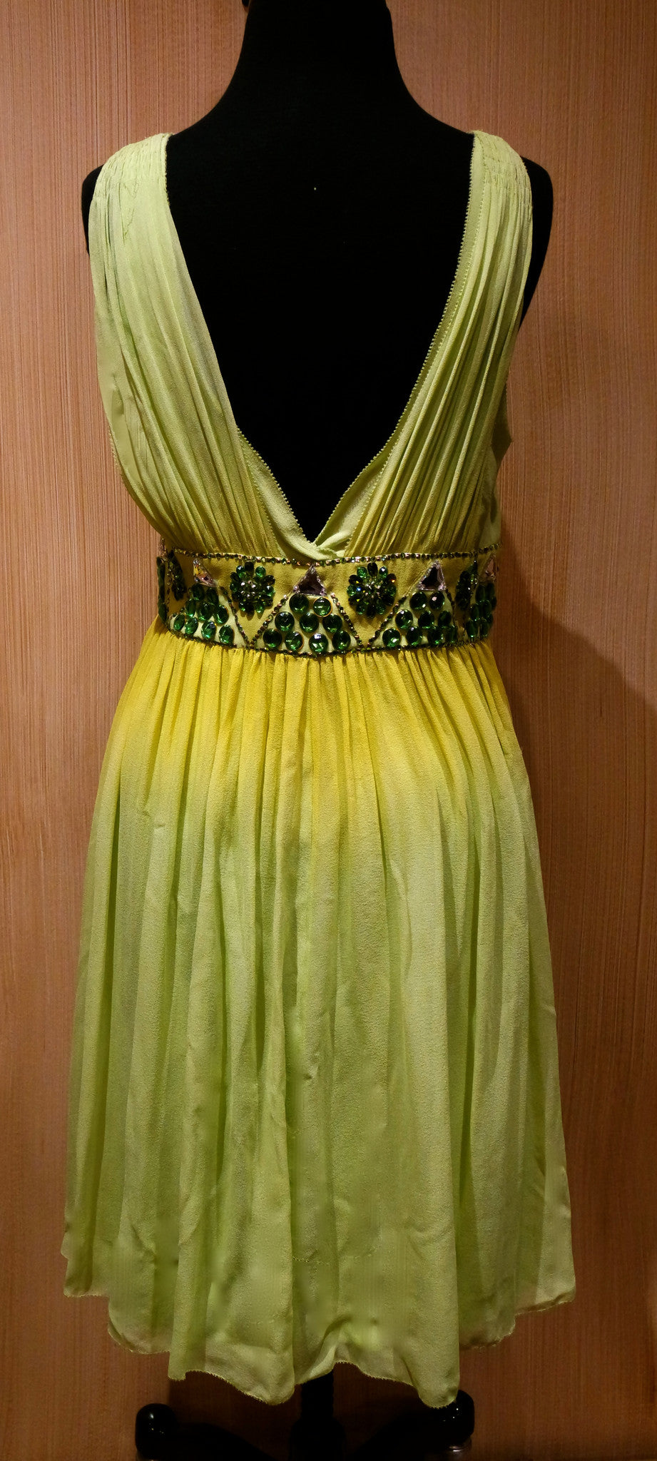 Jenny Packham Jeweled Lime Ombre Silk Chiffon and Jeweled Dress