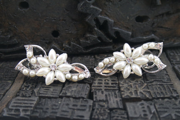 Pair of Pearl Floral and Rhinestone Hair Clasps