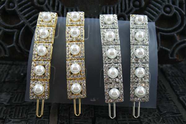 Pearl and Rhinestone Grid Hair Clips