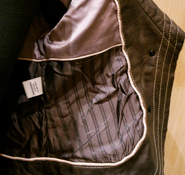 June Shawl Collar Cropped Leather Jacket with Topstitching