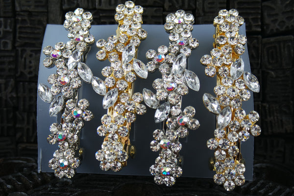 Multi Flower Crystal Hair Barrette