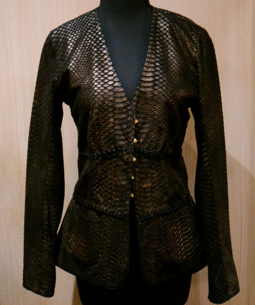 NV Black/Bronze Suede Jacket with Python Embossed Print