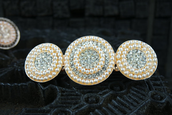 Pearl and Crystal Circles Hair Barrette