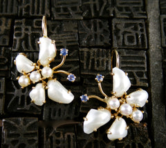 Estate 14K Yellow Gold, Pearl, and Sapphire Earrings