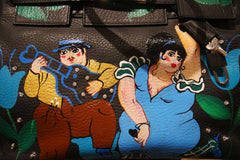Handpainted Botero-esque Dancers on Birkin Style Bag