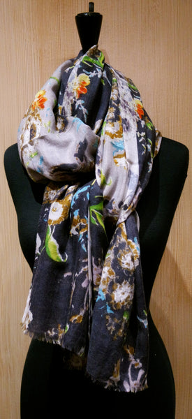 Epice Anthracite Floral Scarf