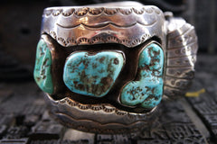 Vintage Southwestern Silver and Turquoise Watchband