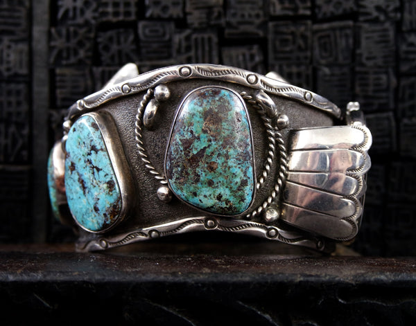 Vintage Southwestern Silver and Turquoise Curved Watchband