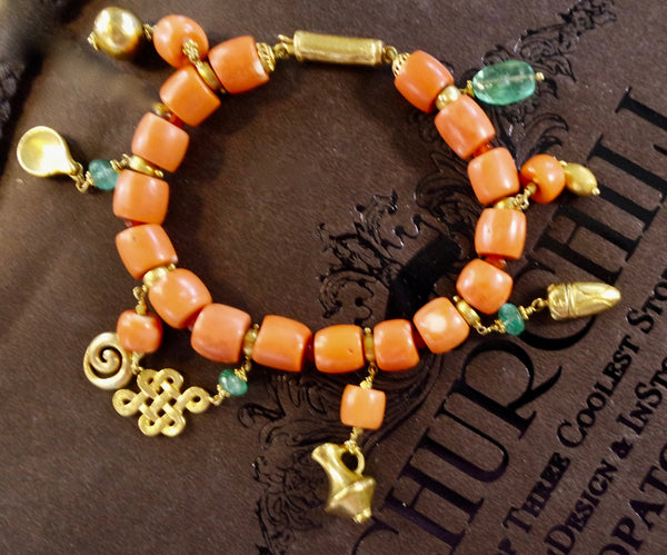 Paola Ferro Charm Bracelet of Antique Coral, Emeralds, and 18K Yellow Gold
